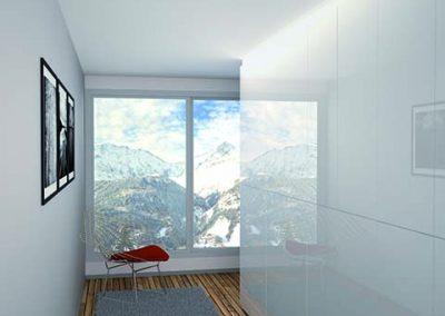 AMÉNAGEMENT DE COULOIR Placard : Placard à portes battantes en mélaminé Blanc glacier brillant. Aménagement en mélaminé Swiss orme froid.