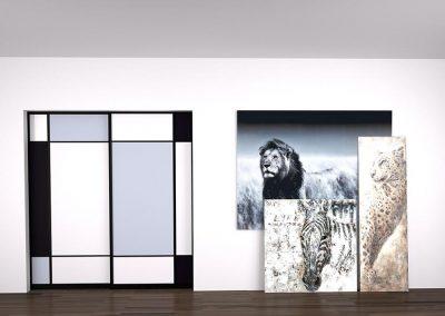 PORTE DE SÉPARATION MOSAÏQUE Portes de séparation : Portes coulissantes roulantes au sol avec profil 3200 anodisé noir mat. Verre mat Pure white, Classic black et Metal grey.