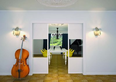 PORTES DE SÉPARATION SUSPENDUES Portes suspendues : Profil 4200 laqué blanc mat. Verre transparent et verre brillant laqué Soft white.