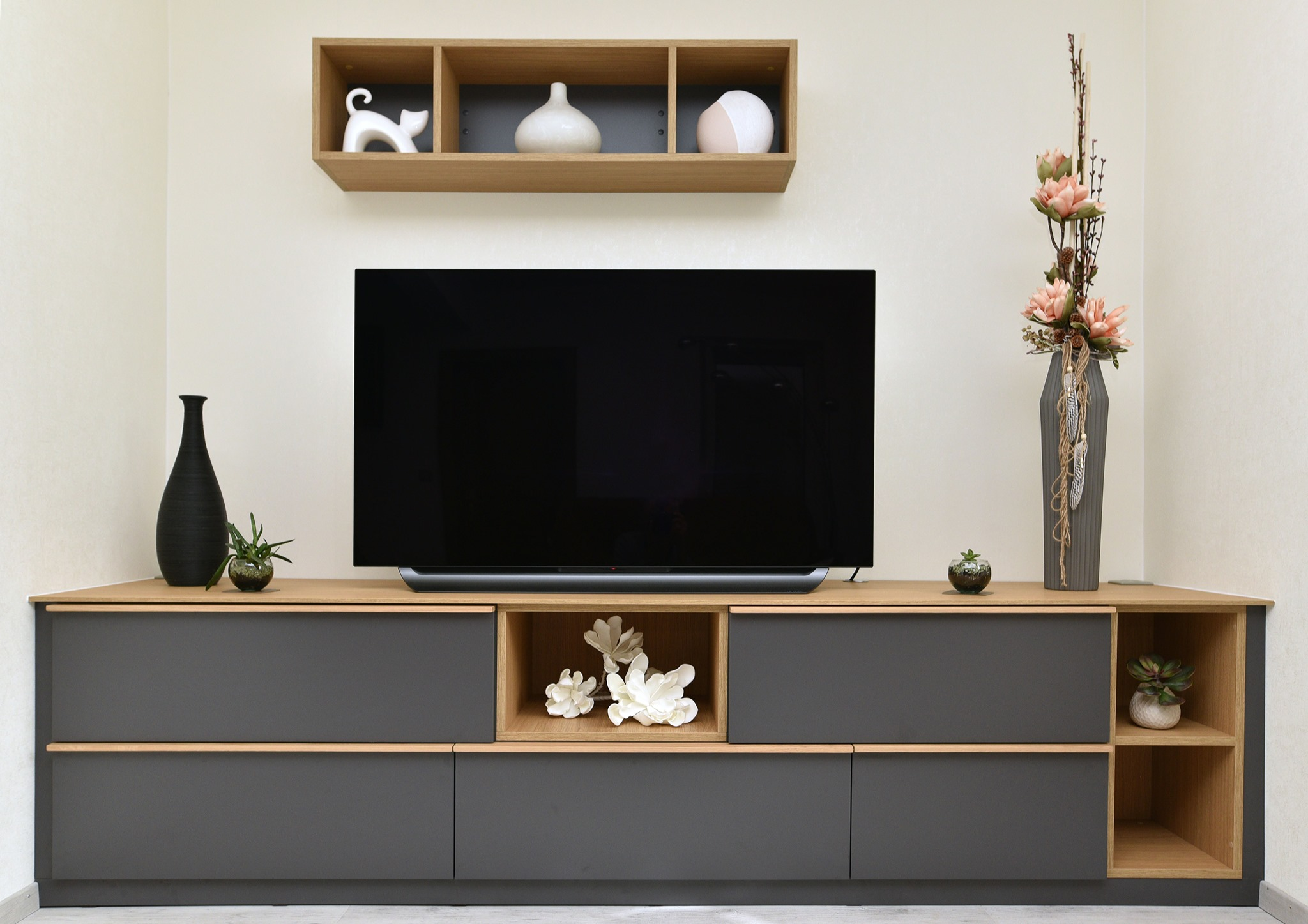 Meuble TV graphite et bois
